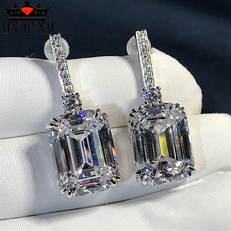 2020 nuevo 18k blanco Incrustaciones de oro piedra preciosa cuadrado señoras Hallyu perforado de gama alta de lujo encanto frío partido pendientes