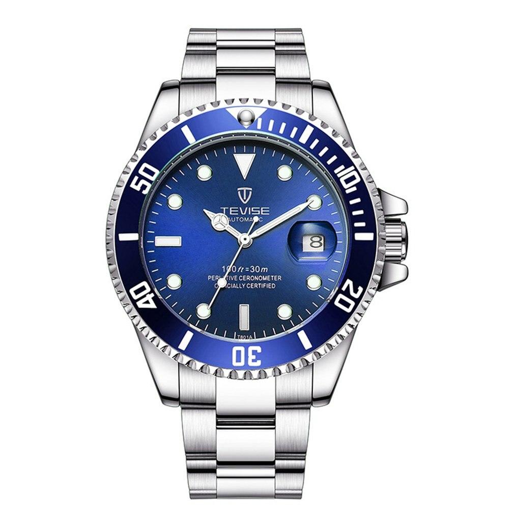 TEVISE Green Water Ghost Watch Men'S Luxury Mechanical Watch Steel Belt Waterproof Automatic Watch B