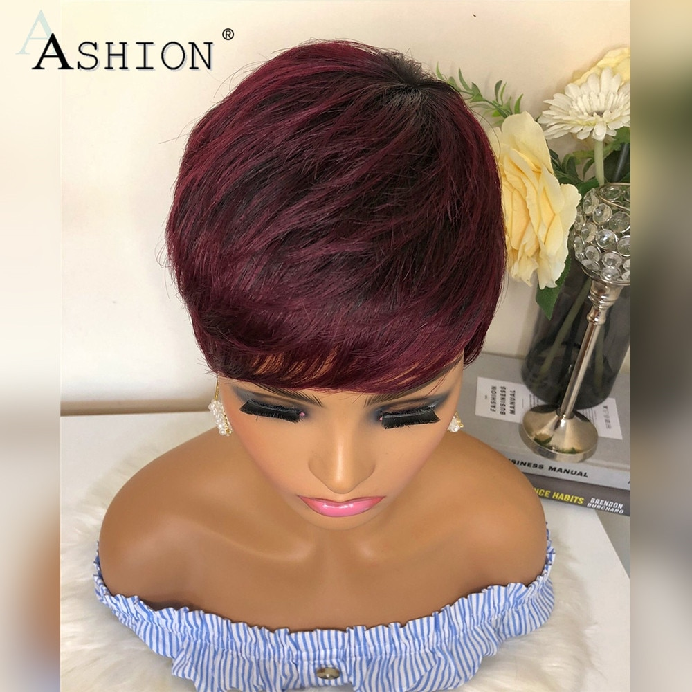 Straight Pixie Cut Human Hair Wigs with Bangs Burgundy Colored Wigs for Women Full Machine Made Wig