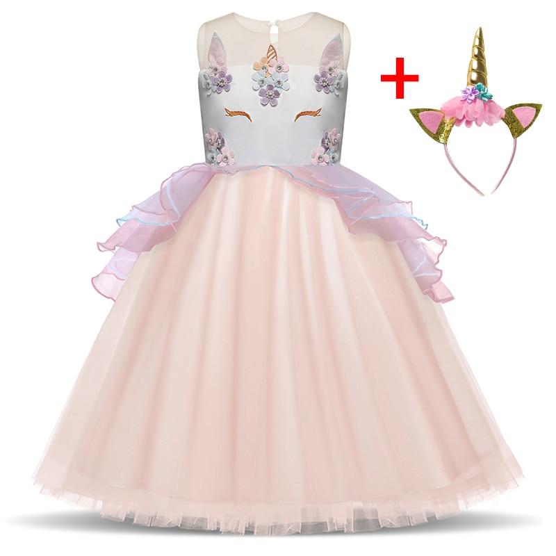 Girls Birthday Party Cosplay Unicorn Dress Elegant Princess Dress Wedding Bridesmaid Dress Fancy Kid