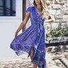 TEELYNN sexy backless deep v neck summer dresses women vintage 2020 blue cotton floral print maxi dress boho beach vestidos robe