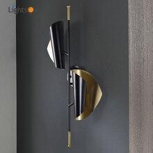 Postmodern lumière de luxe applique murale salon étude applique échantillon chambre décoration noir or aube applique murale