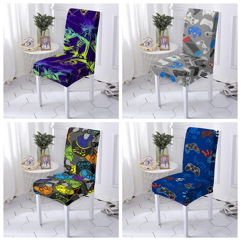 Фото - Gamepad Dining Chair Cover Spandex Elastic Chair Slipcover Case Stretch Seat Cover for Wedding Hotel Banquet 1/2/4/6 PCS straight stretchable chair cover 4 pcs black