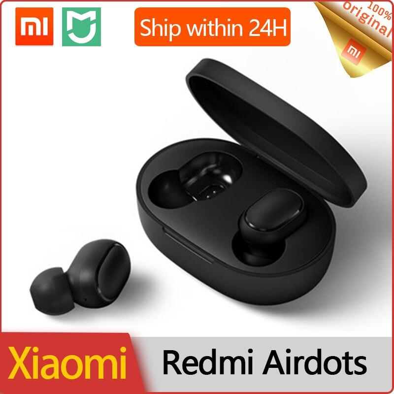 Xiaomi redmi airdots na orelha tws bluetooth 5.0 fone de ouvido baixo estéreo sem fio microfone handsfree fones controle de cancelamento ruído