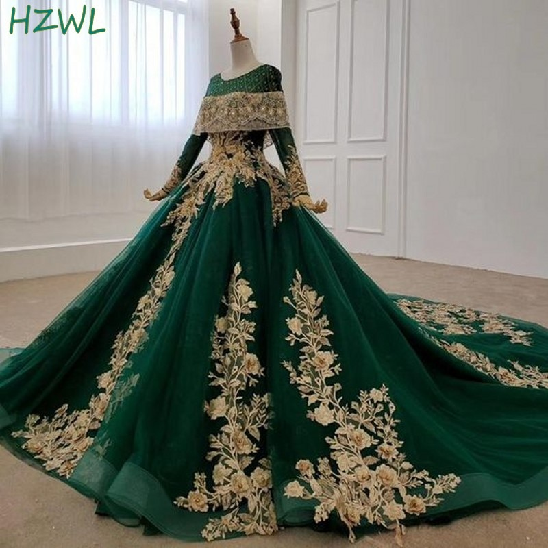 Dubai Dark Green Evening Gowns Gold Flora Appliques Long Sleeves A Line Prom Dresses Saudi Arabia Sweep Train  Robe De Soiree