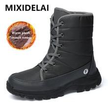 Nuevas botas de invierno para hombre para exterior, botas de nieve para hombre, zapatos gruesos de felpa resistentes al deslizamiento, zapatos de invierno abrigados de talla grande 46