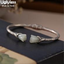 Uglyless اليدوية ماغنوليا اليشم أساور للنساء أنيقة فستان زهري مجوهرات التايلاندية الفضة 925 الفضة العرقية المفتوحة الإسورة خمر