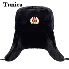 Winter Men Hat Fur Warm Windproof Cap Lei Feng Cap Bomber Faux Fur Ear Flap Caps Black Ski Trooper T