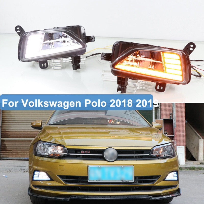 2 pçs para volkswagen vw polo 2018 2019 led drl luzes diurnas nevoeiro lâmpada dinâmica amarelo turn signal lâmpada 2018