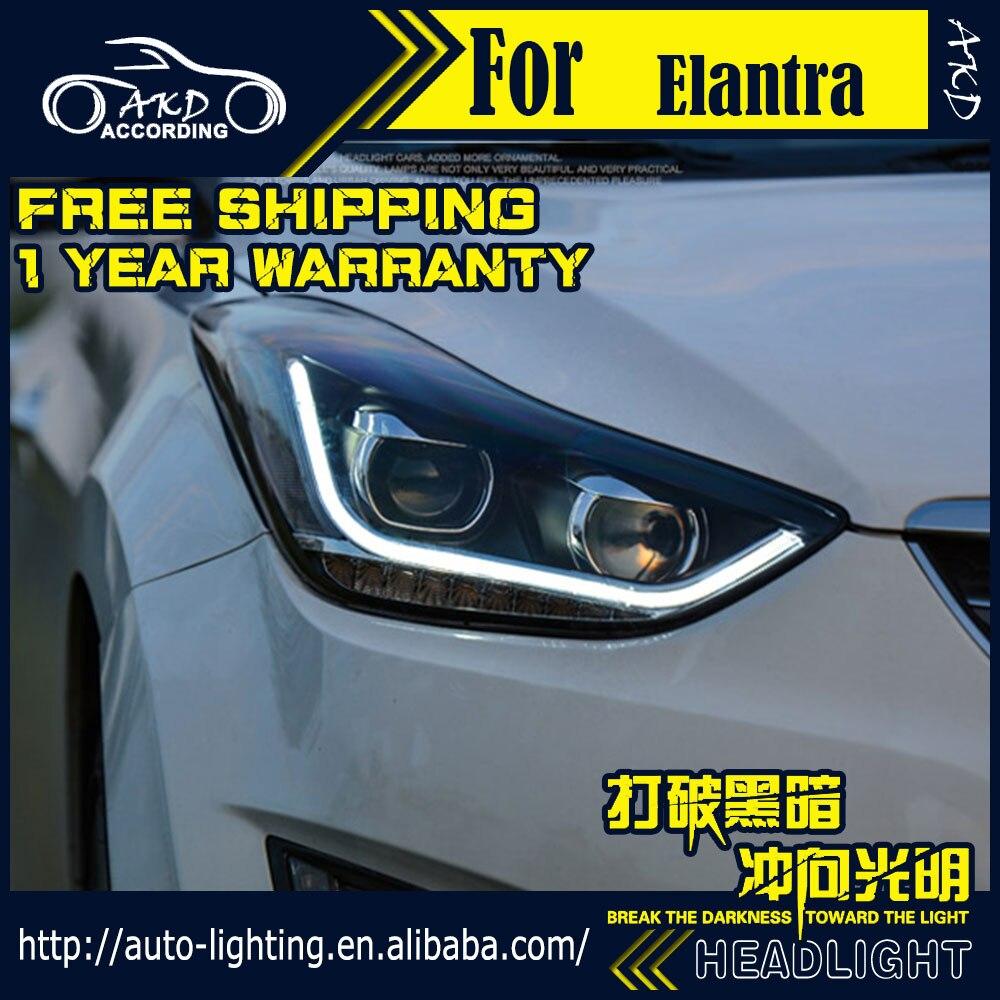 Lámpara frontal AKD para faros Hyundai Elantra 2011 Elantra MD LED faro H7 D2H Hid opción Ojo de Ángel haz de Bi Xenon