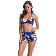 2020 grande taille Bikini Sexy maillot de bain 2 pièces maillot de bain Sexy maillots de bain taille haute Sexy maillot de bain femmes Boxer impression