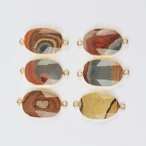 Gold Plating Natural Succor Creek Jaspers Faceted Connector for Bracelet Oval Shape Gems Stone Connectors for Necklaces G2010