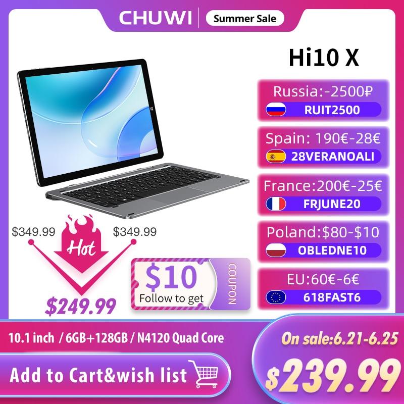 AliExpress - CHUWI  Hi10 X 10.1 inch FHD Screen 6GB RAM 128GB ROM Tablet Intel N4120 Quad Core Windows10 Tablets PC Dual Band 2.4G/5G Wifi