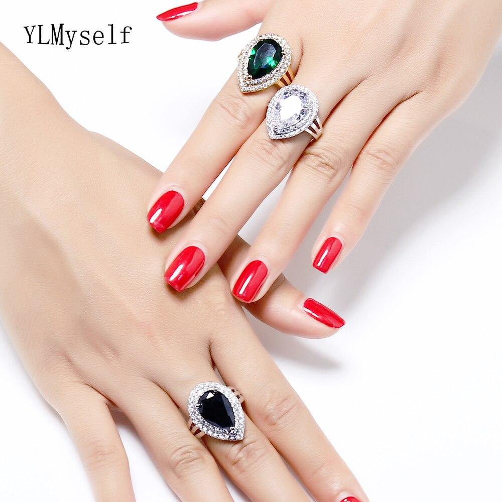 Женское кольцо из меди, золотистого/голубого/зеленого/белого цвета, вечерние ювелирные украшения на годовщину