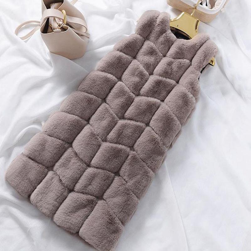 Chaleco de piel sintética Gilet, abrigo de felpa aterciopelada, grueso cálido con costuras, abrigo de piel, chaleco de moda, chaleco de piel, moda femenina