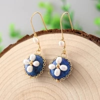 natural stone lapis real baroque pearl earrings for women party light luxury handmade green aventurine earrings jewelry