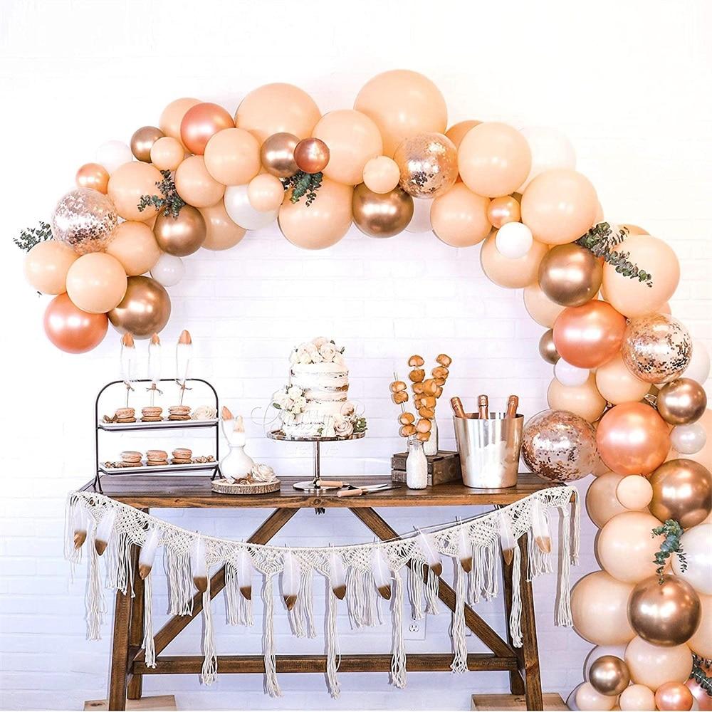 Melocotón y oro rosa globo metálico Arco y set de guirnaldas oro rosa cromo y globos confeti boda decoración de cumpleaños