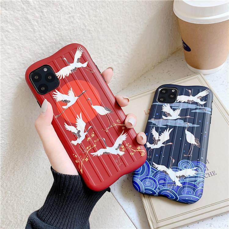 Funda de teléfono japonesa Anime crane bird para iPhone XS X 11 Pro MAX funda de silicona para funda iPhone 7 7Plus 8 6 6s Plus XR