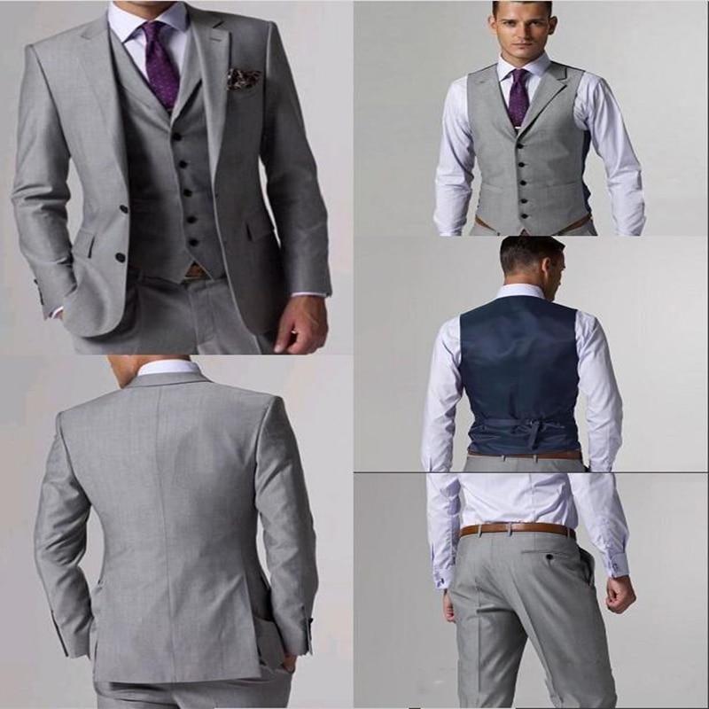 بدلة صوف عالية الجودة مع الشقوق الجانبية ، بدلة سهرة العريس رمادي فاتح ، طية صدر مدببة ، بدلة رجالية من 3 قطع