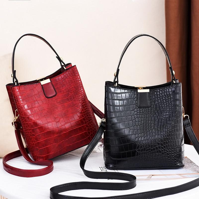 Bolso cruzado de cocodrilo de moda para mujer bolso de hombro bolsos de diseñador para mujer bolso de cuero de PU de lujo bolso de cubo