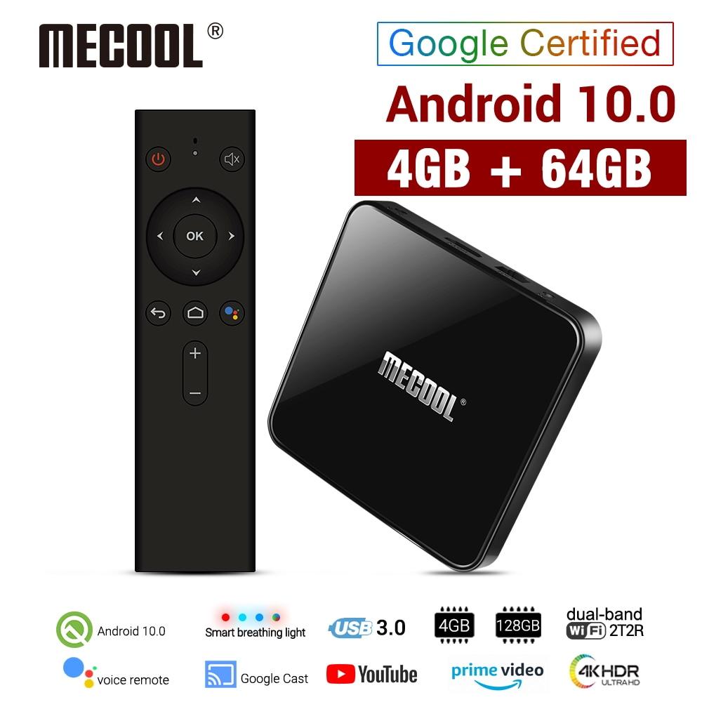 MECOOL-Smart TV Box KM3 ، Android 10.0 ، 4 جيجابايت DDR4 ، 64 جيجابايت ROM ، التحكم الصوتي ، Amlogic S905X2 ، wi-fi 2.4 جيجاهرتز ، 5 جيجاهرتز ، Bluetooth 4.1 ، مشغل وسائط