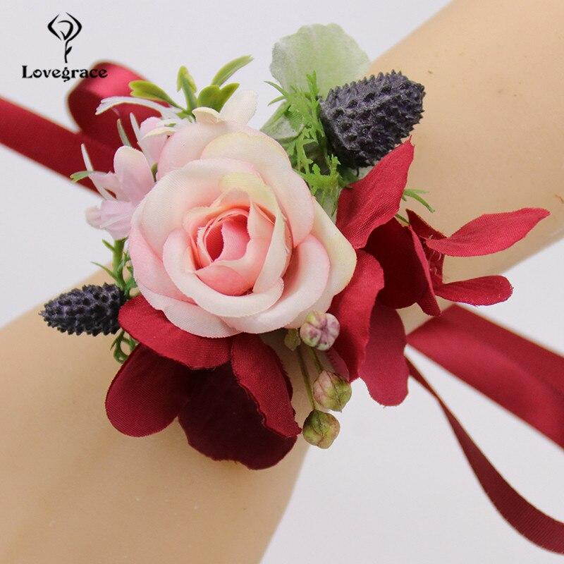 Rojo de seda Boutonniere de rosas Pin flor novio de Boda boda ojal boda testigo ramilletes de flores pulsera de dama de honor de flores