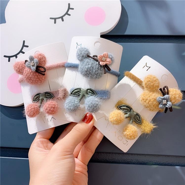 50 juego/lote DIY Multi felpa pequeñas bandas para el cabello elásticos bolas de cereza pinzas para el cabello accesorio de estilismo HA1674