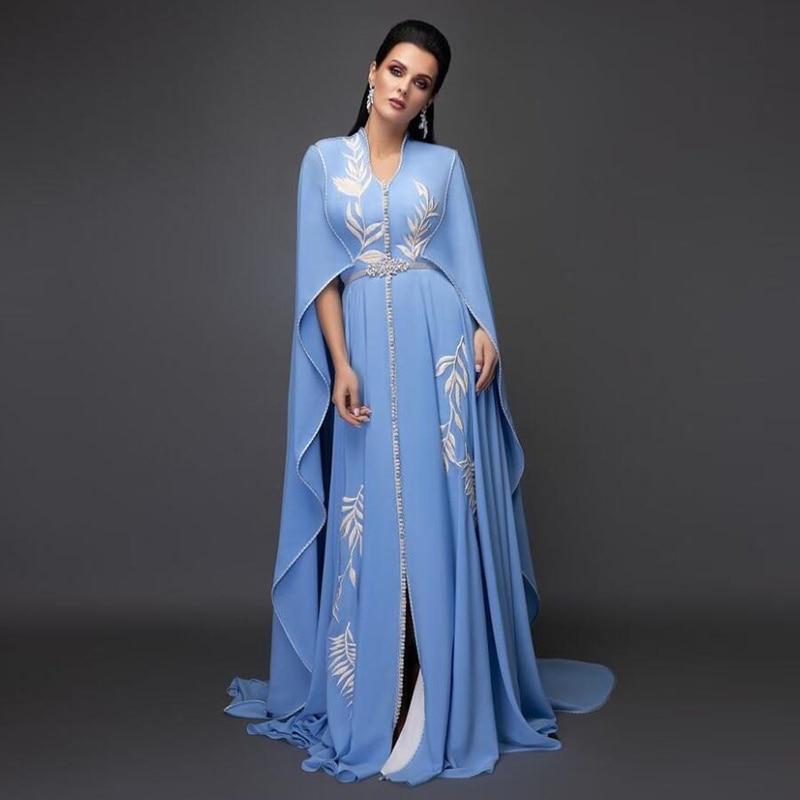 Eightale-فستان سهرة عربي ، ياقة على شكل v ، أزرق فاتح ، مزين ، أكمام كيب ، قفطان ، شيفون ، قفطان ، فستان حفلات