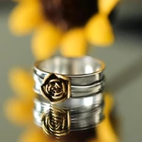vintage fashion silver plated finger jewelry rings for women 2021 new golden flower design statement ring hot couple gifts bague