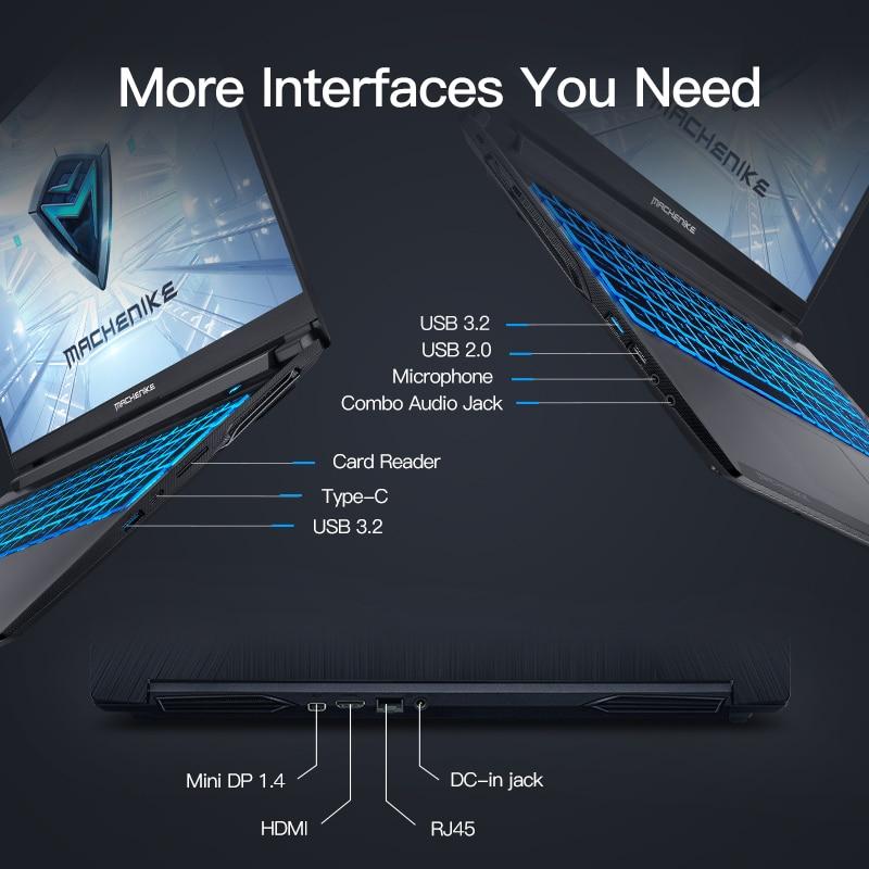 Machenike T58 Gaming Laptop Core i5 10200H GTX 1650 Latptops 16G RAM 512G SSD 15.6'' IPS Ultra Border Backlit Keyboard
