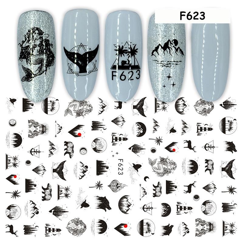 1 blatt Nagel Kunst Aufkleber Sexy Körper Kurve Design Adhesive Nail art Dekorationen Buchstaben Blumen Meerjungfrau Vintage DIY Nagel Abziehbilder