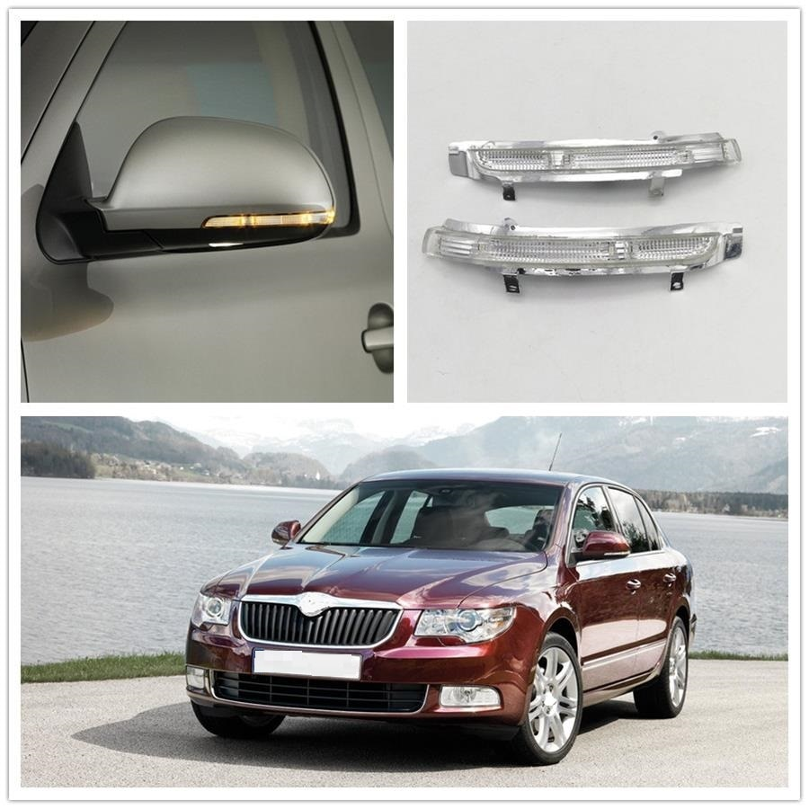Для Skoda Superb MK2 2008 2009 2010 2011 2012 2013 2014 2015 Автомобильное Зеркало, светодиодный индикатор поворота