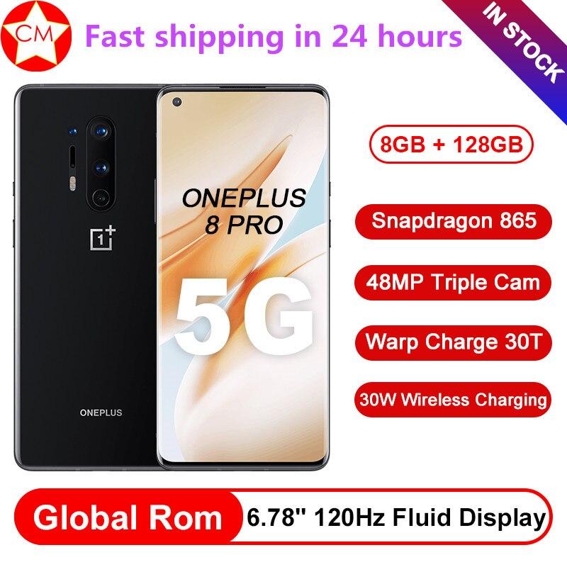 Firmware global oneplus 8 pro 5g celular 6.78 polegada snapdragon 865 octa núcleo android 10 30w carregador 2k 120hz nfc smartphone