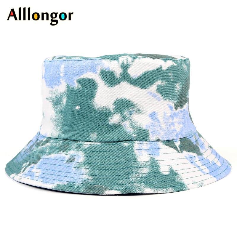 Tie dye sombreros de cubo mujeres hombres 2020 tapas de verano Graffiti pintura dibujo de nubes sombrero de bob gorro pescador Panamá