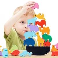 cartoon animal dinosaur wooden stacking toy montessori balance game blocks building tower baby educational