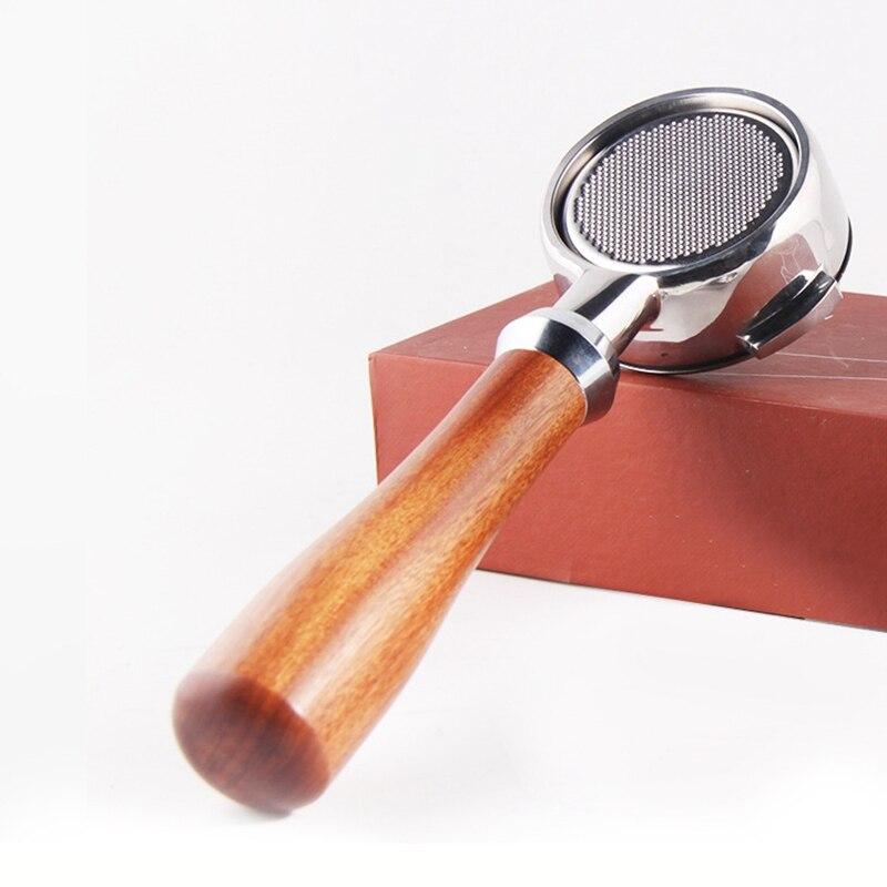 58mm modificado filtro máquina de café alça aço inoxidável bottomless madeira maciça para aibo e61 lidar com portaffiter