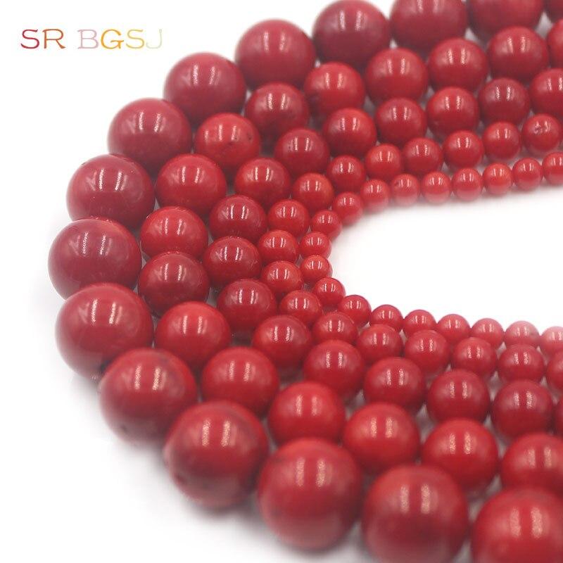 """Envío gratis 4 6 8 10 12mm redondo Mar Rojo bambú Coral gemas naturales Coral joyería cuentas 15"""""""