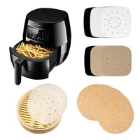 100pcbag air fryer steamer liners premium perforated wood pulp papers non stick steaming basket mat baking utensils for kitchen