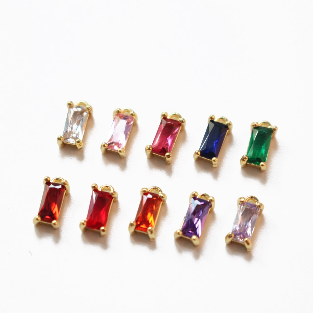 AliExpress - 6pcs 18K Gold Plated rectangular zircon Jewelry Findings Supplies Diy Earrings Making Charms Components accessories