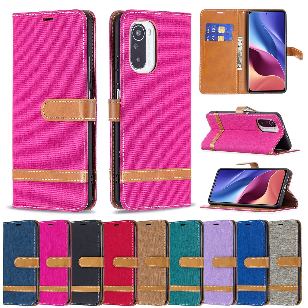 Flip Wallet Leather Case for Xiaomi Mi 11i Poco F3 Redmi K40 Pro Coque Fashion Denim Mixed Color Shockproof Bracket Phone Cover