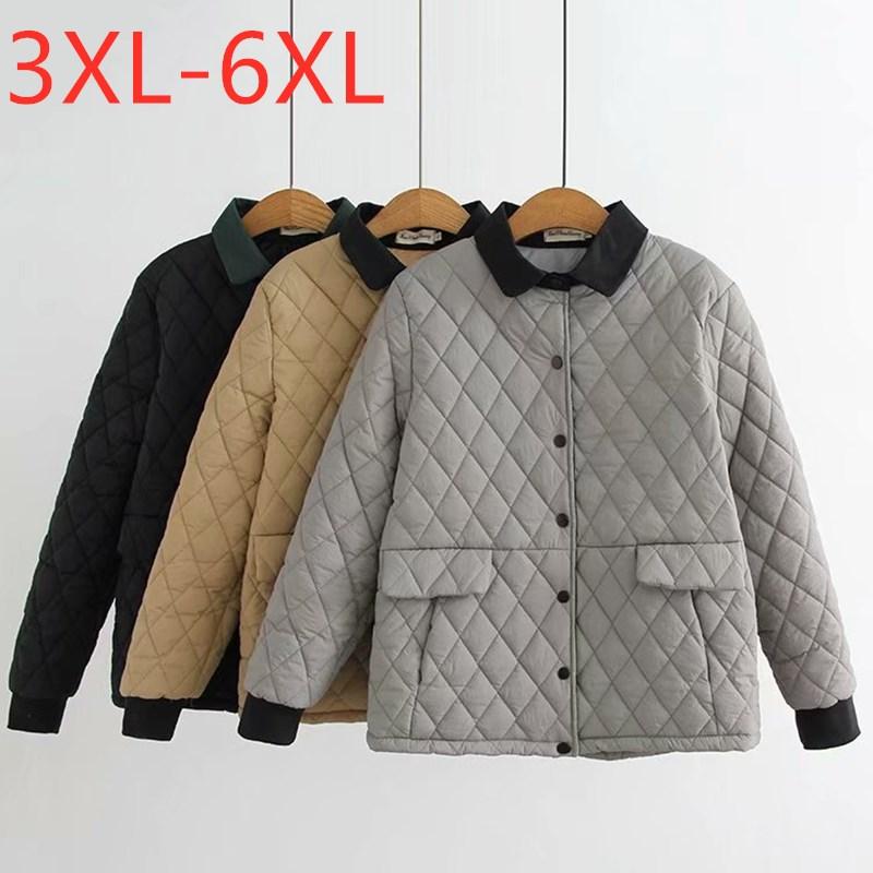 Novas senhoras outono inverno plus size wadded jaqueta para mulher grande solto manga comprida bolso botão cinza preto casaco 3xl 4xl 5xl 6xl