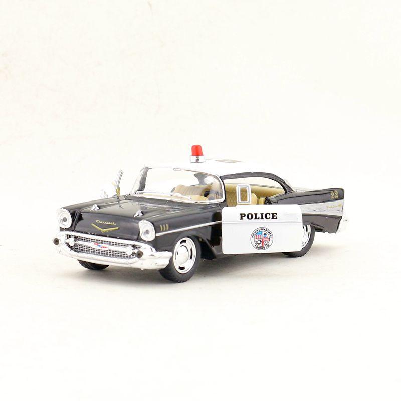 KINGSMART 1/40 escala coche modelo juguetes CHEVROLET BEL AIR policía coche Diecast Metal Pull Back coche juguete para regalo, los niños colección