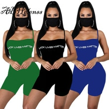 Fashion Letter Women Romper Spaghetti Straps 2021 Summer Skinny Playsuit Sexy Club Party One Piece S