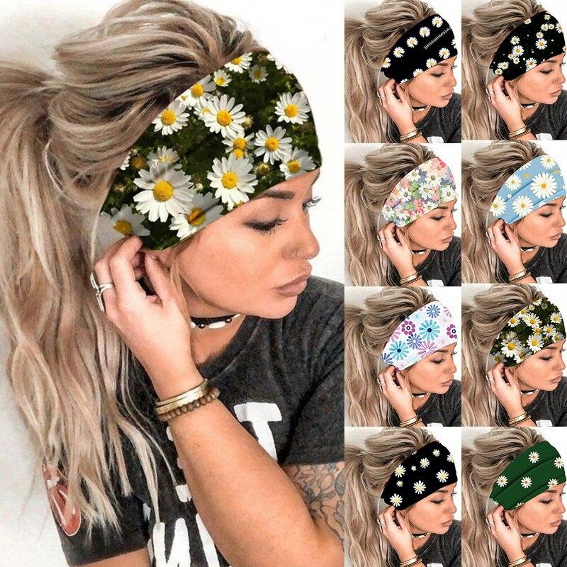 Women Girl Summer Boho Hair Bands Print Headband Bohemian Cross Turban Bandage Bandanas Hair Accesso