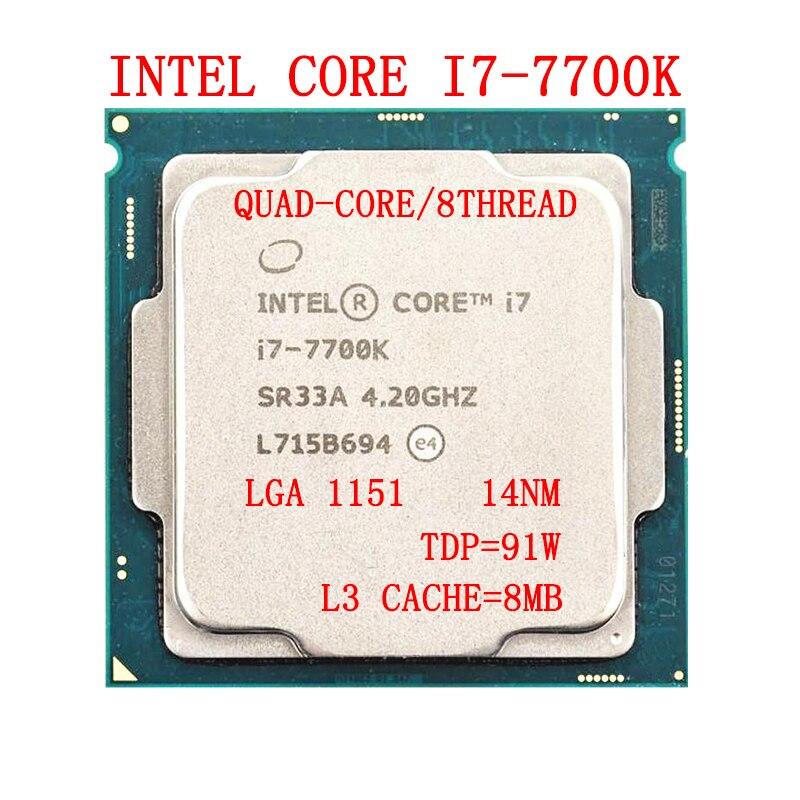 معالج انتل كور i7-7700K رباعي النواة 4.2 جيجاهيرتز 8 خيط LGA 1151 91 وات 14nm i7 7700K
