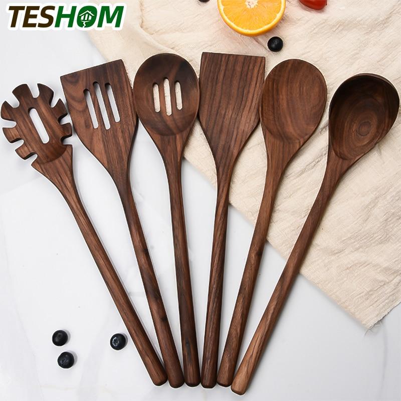عالية الجودة الجوز الأسود أواني المطبخ الخشب 6 قطعة المطبخ الطبخ خشبية مجرفة ملعقة مصفاة مجرفة غير لاصقة طقم أواني الطبخ