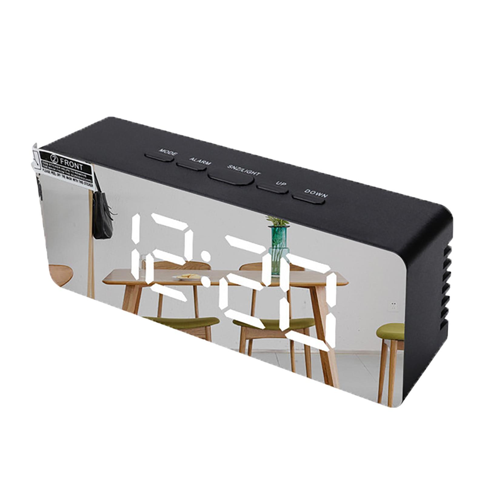 Led Mirror Alarm Clock Digital Snooze Table Clock Wake Up Light Electronic Large Time Temperature Display Home Decor Clock#0