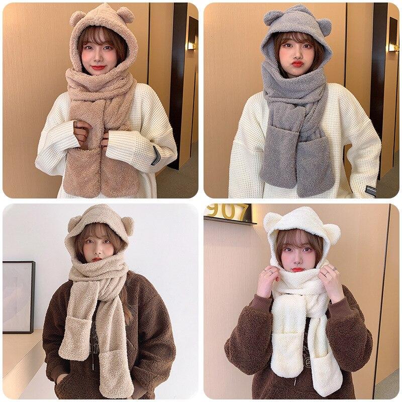 Fashion Cute Bear Ear Hat Scarf Gloves Set Winter Women Thickened Warm Windproof Hat Casual Solid Fl
