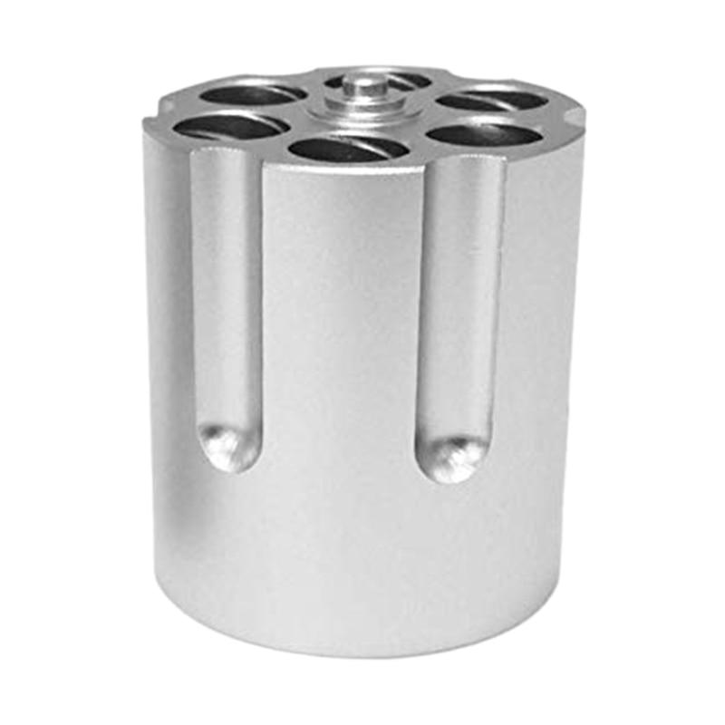 Cylinder Pen Holder Revolver Pen Holder with 6 Slots Pen Pencil Holder Cylinder Design Heavy Duty Non-Slip Aluminum Office Creat
