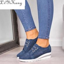 Size 35-44 Flock New High Heel Lady Casual Women Sneakers Leisure Platform Shoes Breathable Height I